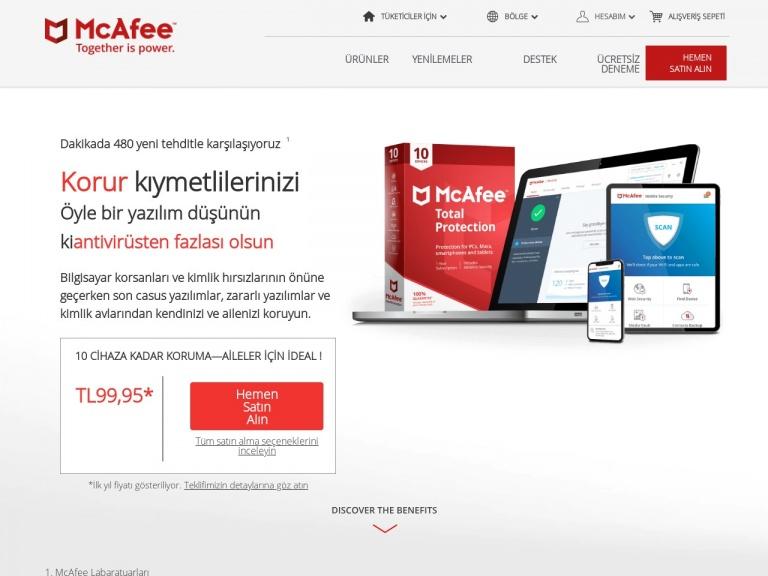 McAfee indirim kuponu screenshot